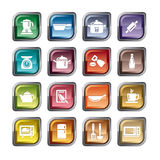Köksgeråd och anordningsymboler Arkivfoto