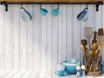 Köksgeråd på vit wood bakgrund med kopieringsutrymme för åtlöje upp Royaltyfri Foto