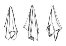 Kökshanddukvektorn skissar isolerat objekt för servett teckning royaltyfri illustrationer