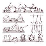 Kökträhyllor med olika hjälpmedel Hand dragen vektorillustrationisolat på vit bakgrund vektor illustrationer