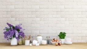 Kökuppsättningen med lilor blommar bakgrund - tolkningen 3D Royaltyfri Foto
