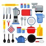 Kökutrustning för att laga mat Vektorillustrationuppsättning i plan stil royaltyfri illustrationer