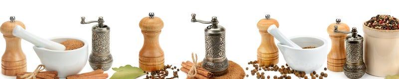 Kökutrustning för att mala kryddor som isoleras på en vit backgr Royaltyfri Foto