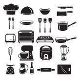Kökutrustningsymboler uppsättning, monokrom Royaltyfri Bild