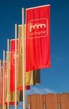 Köln, Deutschland - 22. Januar 2017: imm Köln - internationale Ausstellung von Möbeln und von Innenarchitektur Flaggen an Lizenzfreie Stockbilder