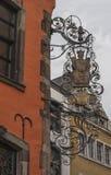 KÖLN, DEUTSCHLAND - 11. SEPTEMBER 2016: Bunte Häuser in der bayerischen Art in der alten Stadt von Köln, Nordrhein-Westfalen Lizenzfreie Stockfotos