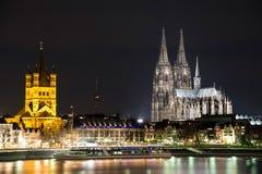 Köln-Nachtansicht stockfoto
