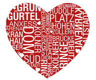 Köln-Typo-Herz-Vektor Stockbilder
