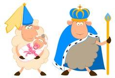 König der Schafe in einer Krone mit einer Prinzessin Lizenzfreie Stockbilder