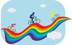 König des Gebirgswettbewerbs Laufen auf dem Regenbogen Lizenzfreies Stockbild
