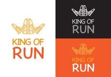 König des Laufs auf unterschiedlichem Hintergrund Eignung stock abbildung
