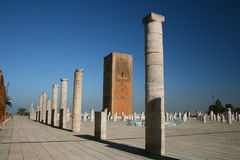 König Hassan Tower Marokko Stockfotos