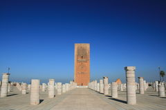König Hassan Tower Marokko Stockbilder