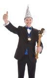 König oder Prinz in einem Karnevalskostüm lokalisiert auf Weiß stockfotografie