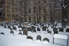 König ` s Kapellen-Friedhof in Boston, USA am 11. Dezember 2016 Stockbild