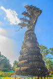 König von Nagas overspreaded 7 Köpfe mit Sonnenaufflackern bei Sala Keoku Lizenzfreies Stockbild
