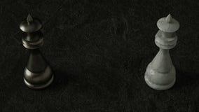 Königin des Schachs 3D auf dunklem Hintergrund Wiedergabe 3d Film- Beleuchtung stock abbildung