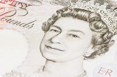 Königin Elizabeth in einem 50 Pfund Lizenzfreie Stockfotos
