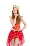 Königin im roten Kleid lokalisiert Stockfotos