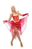 Königin im roten Kleid lokalisiert Stockfotografie