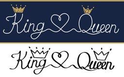 Königin und König Königliche Krone und Tiara des schwarzen Textlogos stock abbildung