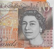 Königinkopf auf Geldbargeld zehn Pfund Anmerkung Lizenzfreies Stockfoto