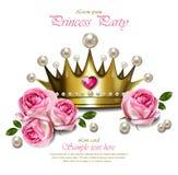Königinkrone Vektor realistisch Bezaubernde goldene Krone mit Perlen Schöne königliche Kartenillustrationen vektor abbildung