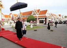 Königliche Hoheits-Prinzessin Maha Chakri Sirindhorn nehmen an dem Begräbnis- Chumphon Sinlapa-a-cha an Thepsirin-Tempel teil Stockbild