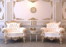 Königliche Möbel im Luxuxinnenraum Stockfoto