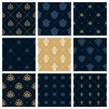 Königliche Muster oder Victorianweihnachtshintergrundsatz Stockbilder