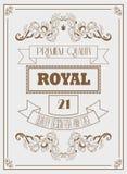 Königliche Schablone des Weinlesedesigns mit Unterzeichnung, Krone und eleganten Rahmen Lizenzfreie Stockfotos