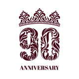 Königliche Schablone mit Krone für die 90 Jahre Jahrestag stock abbildung