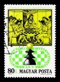 Königliche Schach-Partei, 15. Jahrhundert, italienisches Schach-Buch, 50. Annive Stockbild
