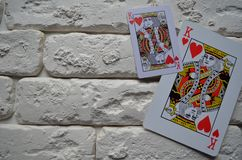 Königliche Spaten des Spielkartekasinoblinkens schürhaken kasino stockfoto