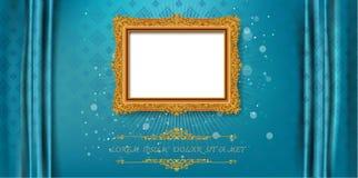 Königlicher Goldrahmen Thailands auf Enterichmusterhintergrund, Weinlesefoto-Rahmenantike, Designmuster stockfotografie