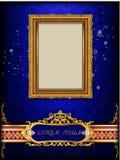 Königlicher Goldrahmen Thailands auf Enterichmusterhintergrund, Weinlesefoto-Rahmenantike, Designmuster lizenzfreies stockfoto