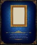 Königlicher Goldrahmen Thailands auf Enterichmusterhintergrund, Weinlesefoto-Rahmenantike, Designmuster stockbild