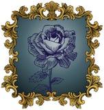 Königlicher König Frame mit Rose Stockbilder