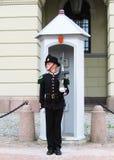Königlicher Schutz, der Royal Palace in Oslo, Norwegen schützt Lizenzfreie Stockfotografie