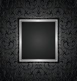 Königlicher schwarzer Einladungskartenentwurf, nahtloses Muster eingeschlossen Stockfotos