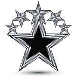 Königlicher schwarzer Stern mit silbernem Entwurf, geometrische stilisierte Sterne Stockfotos