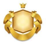 Königlicher, Vektoraufkleber und Goldbandfahne, lizenzfreie stockbilder