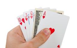 Königliches bündiges mit $100 in der Hand Stockbild