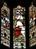 Königliches Einhorn, buntes nahtloses Buntglasfensterelement herein Stockfotografie