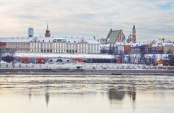 Königliches Schloss am Winter in der alten Stadt von Warschau, Polen Lizenzfreies Stockbild
