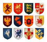 Königliches Wappen auf Schildvektorlogo Wappenkunde, gesetzte Ikonen des Blazonry vektor abbildung