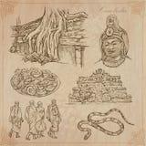 Königreich Kambodscha - Hand gezeichneter Vektorsatz lizenzfreie abbildung