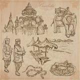 Königreich Kambodscha - Hand gezeichneter Vektorsatz Stockbild