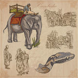 Königreich Kambodscha - Hand gezeichneter Vektorsatz Lizenzfreies Stockfoto