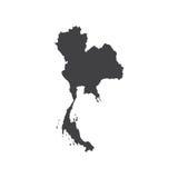 Königreich- Thailandkartenschattenbild Stockfoto